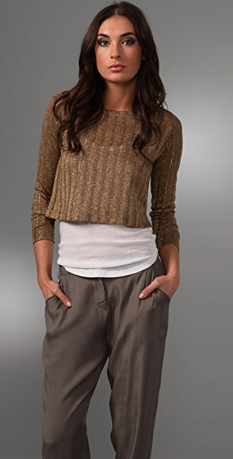 Bec & Bridge Dune Cropped Metallic Sweater