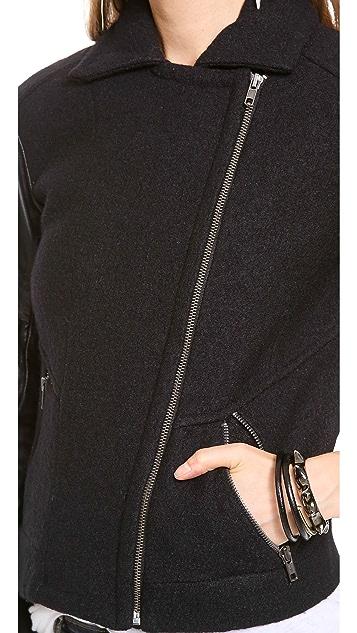 Bec & Bridge Boucle & Leather Bomber Jacket
