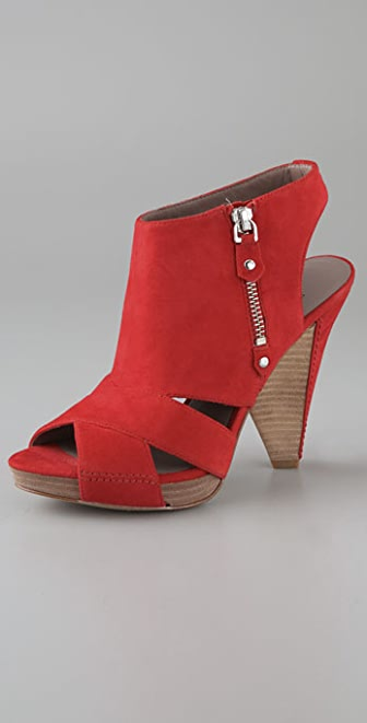 Belle by Sigerson Morrison Open Toe Suede Platform Booties