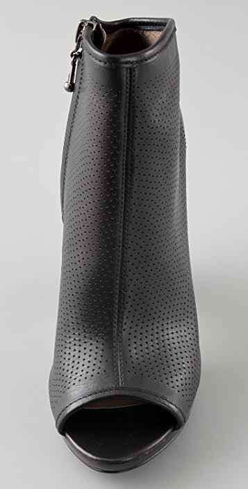 Belle by Sigerson Morrison Perforated Open Toe Platform Booties