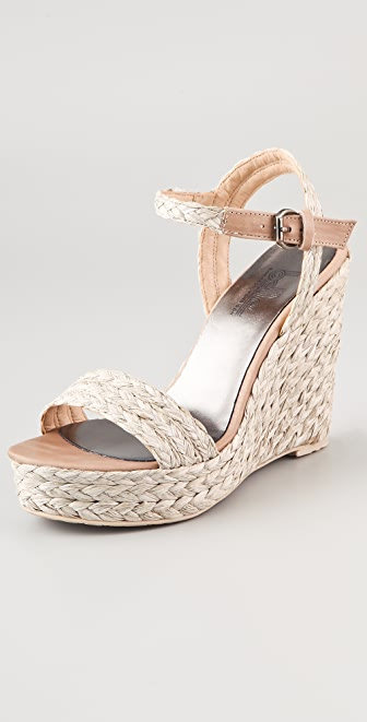 Belle by Sigerson Morrison Lucia Raffia Wedge Sandals