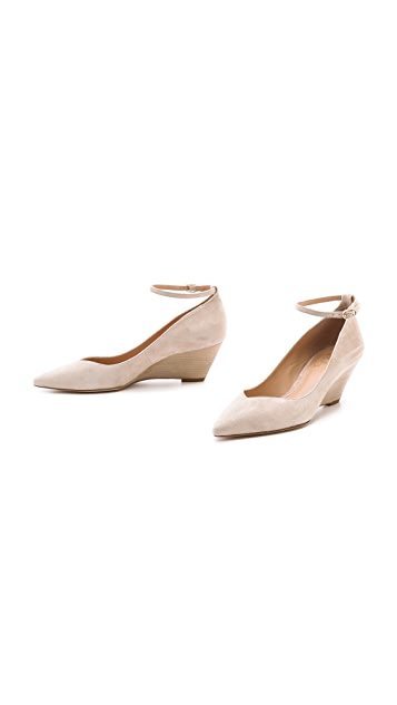 Belle by Sigerson Morrison Waverly Suede Ankle Strap Wedges