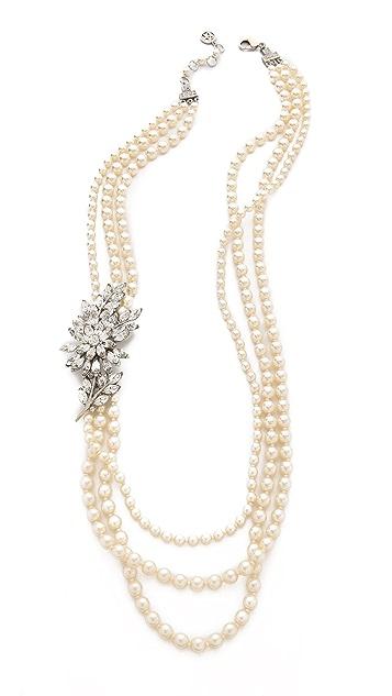Ben-Amun Crystal Flower Imitation Pearl Necklace