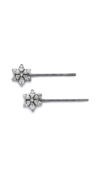 Ben-Amun Crystal Flower Hair Pin Set