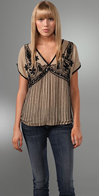Beyond Vintage V Neck Beaded Blouse