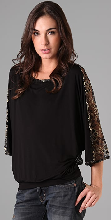 Beyond Vintage Dolman Sleeve Blouse with Lace Back
