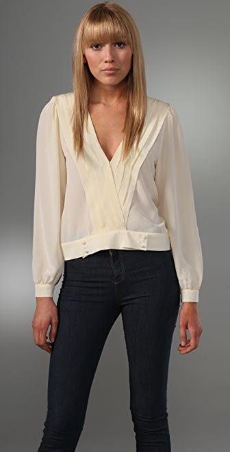 Beyond Vintage Long Sleeve V Neck Blouse