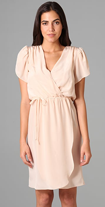 Beyond Vintage Surplice Cap Sleeve Dress
