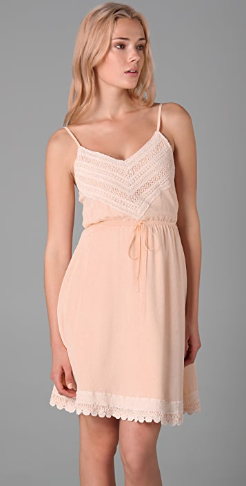 Beyond Vintage Crochet Trim Slip Dress