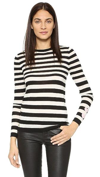 Bella Freud Cashmere Stripe And Hearts Sweater - Black