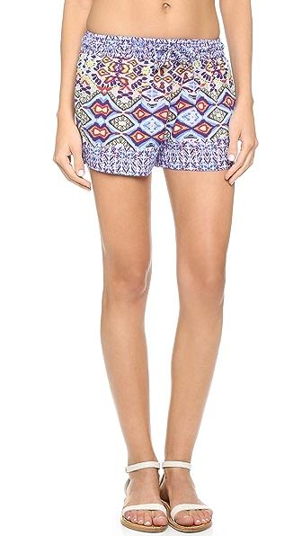 Bindya Poppy Ikat Beach Shorts