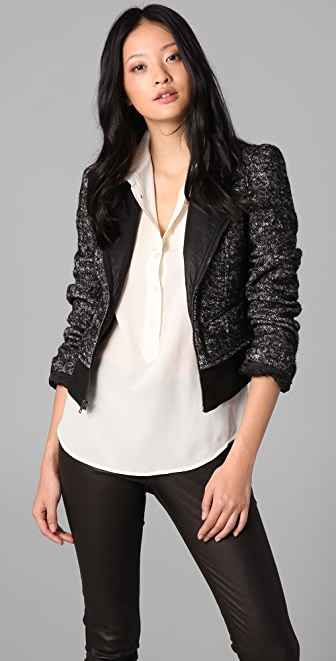 Bird by Juicy Couture Tweed Biker Jacket with Leather Trim
