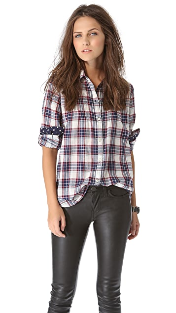 Birds of Paradis by Trovata Plaid Button Down with Polka Dot Detail