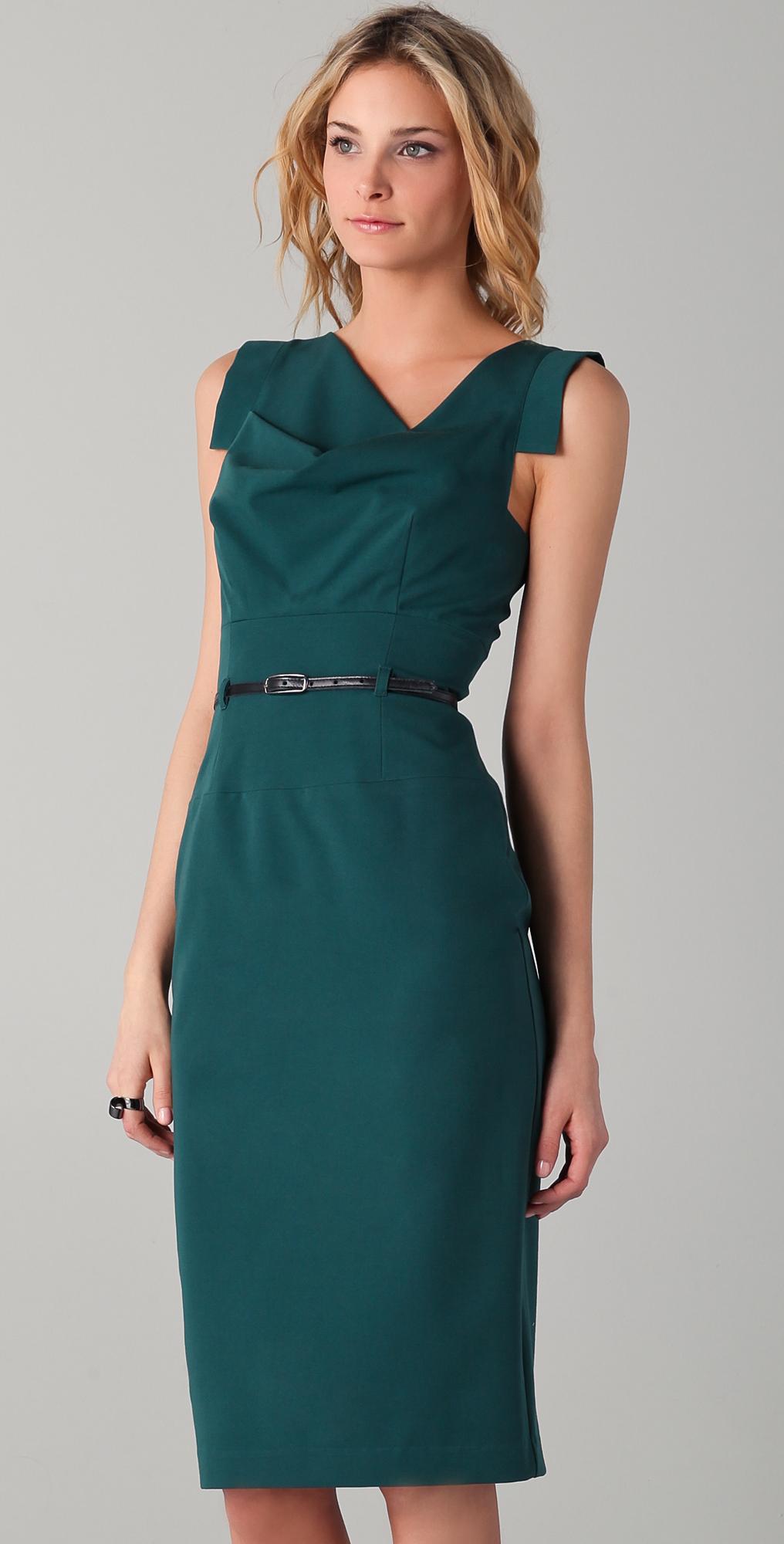 Black Halo Jackie O Belted Midi Dress | SHOPBOP