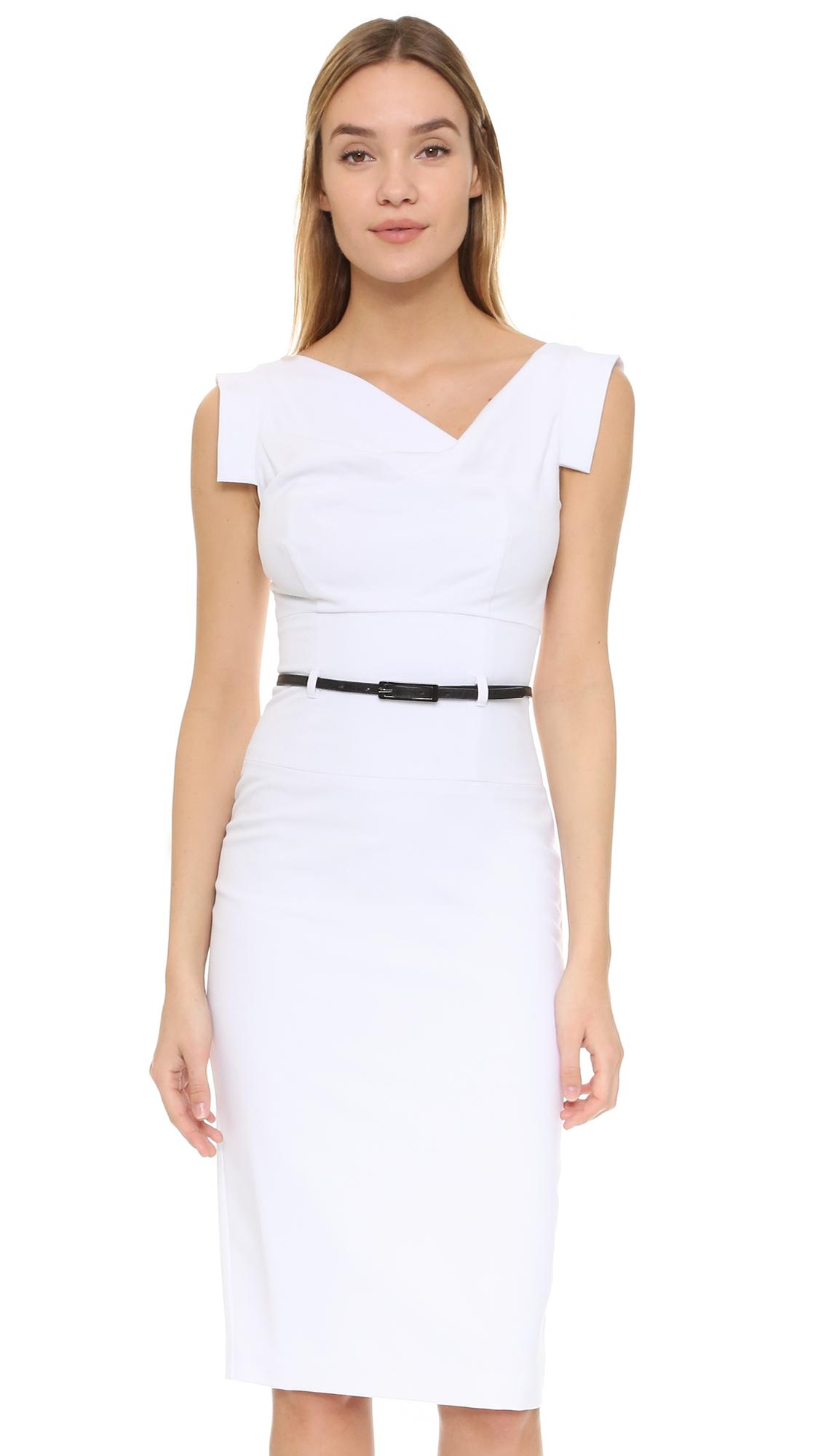 Black Halo Jackie O Belted Dress - White