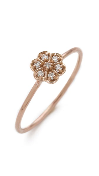 blanca monros gomez Diamond Medium Rosette Stacking Ring