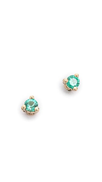 blanca monros gomez 14k Gold Tiny Emerald Stud Earrings - Emerald