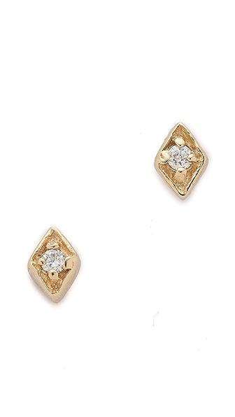 blanca monros gomez Tiny Diamond Filigree Stud Earrings