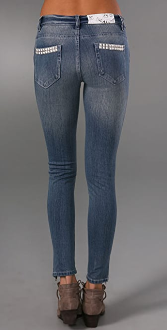 Blank Denim Cropped Skinny Jeans with Studs