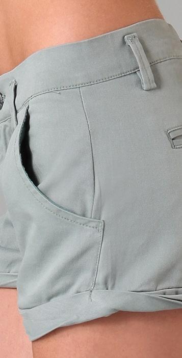 Blank Denim Twist Cuff Twill Shorts