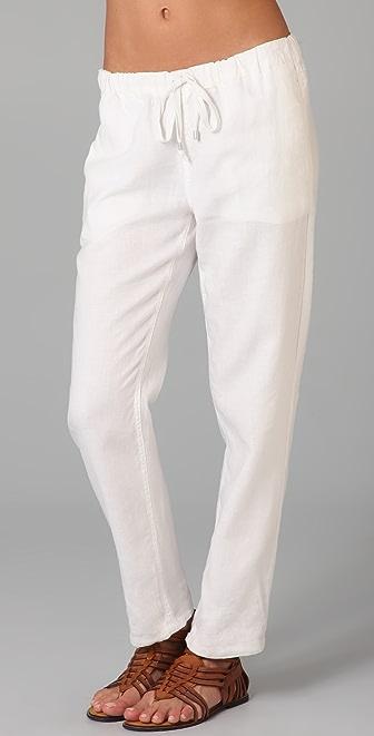 Blank Denim Linen Drawstring Pants