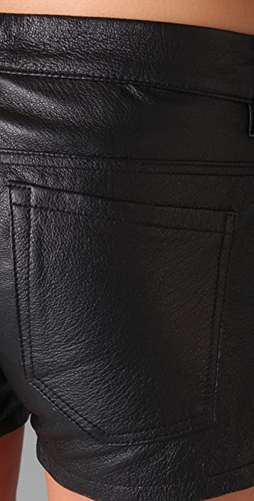 Blank Denim Leather Shorts