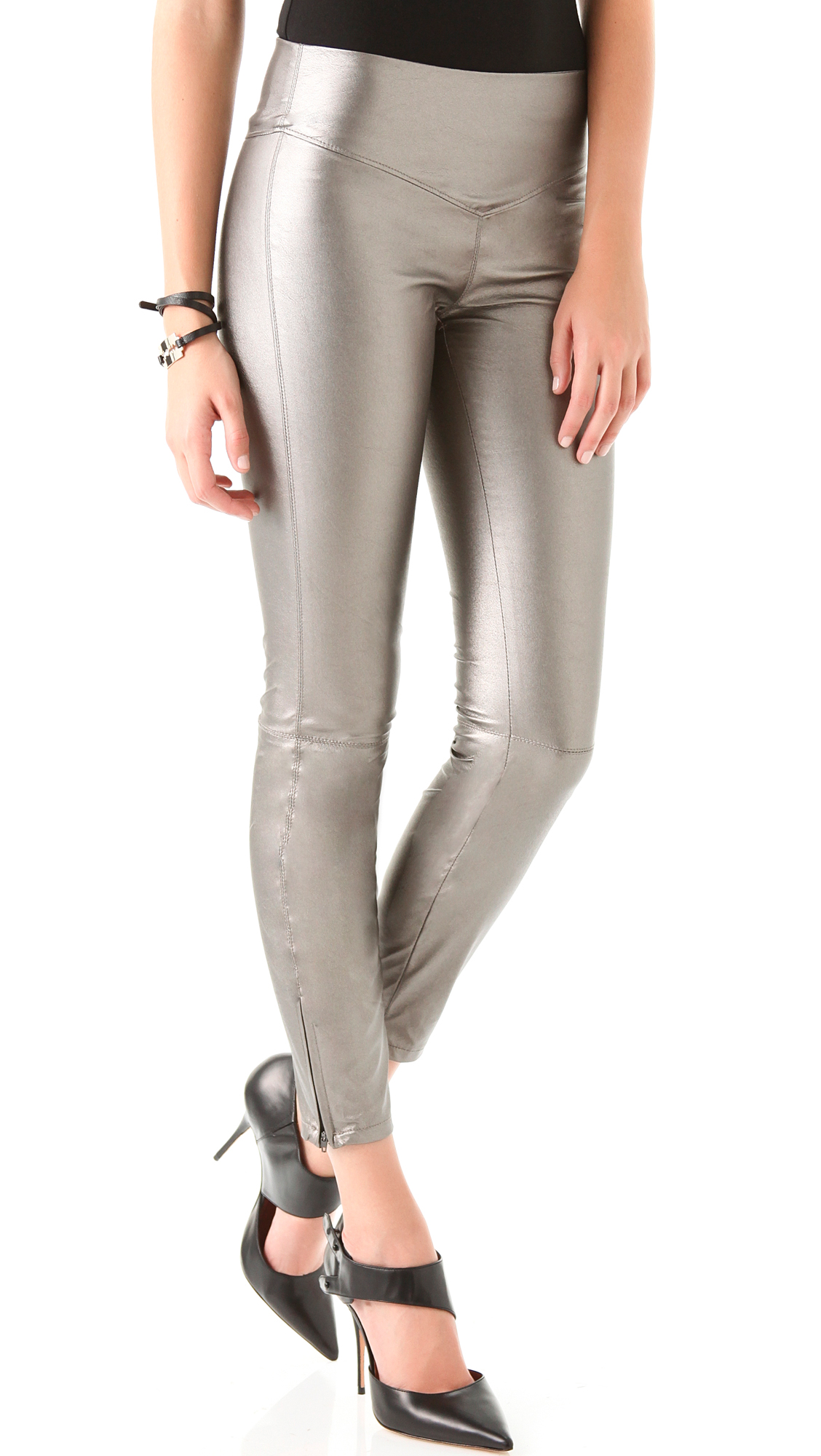 Beige Leather Leggings Hardon Clothes
