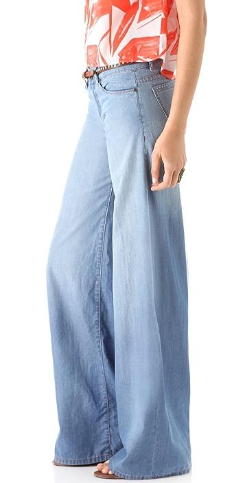 Blank Denim Mid Rise Wide Leg Jeans
