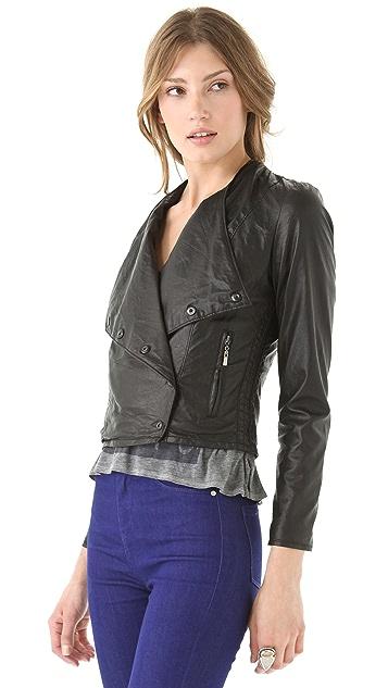 Blank Denim Vegan Leather Biker Jacket