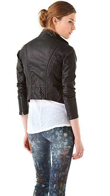 Blank Denim Vegan Leather Moto Jacket