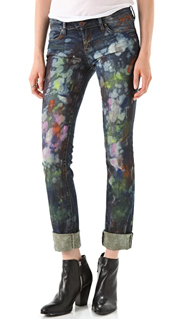 Blank Denim Paint Splatter Straight Leg Jeans
