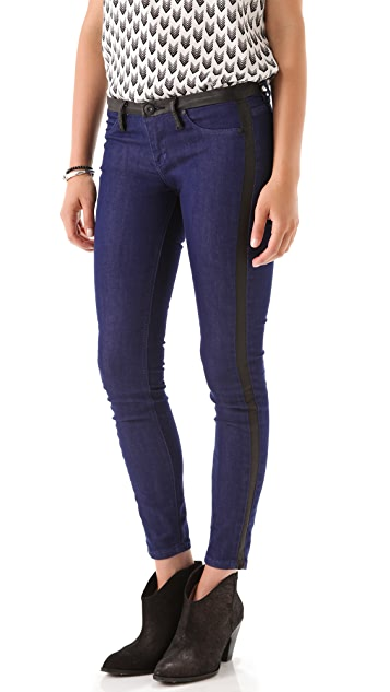 Blank Denim Skinny Jeans with Black Trim