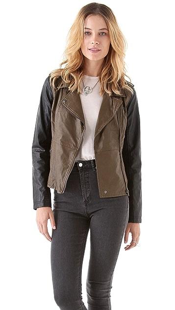 Blank Denim Vegan Two Tone Leather Jacket