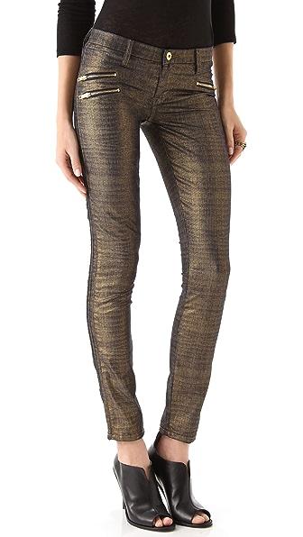 Blank Denim Gold Foil Zip Skinny Jeans
