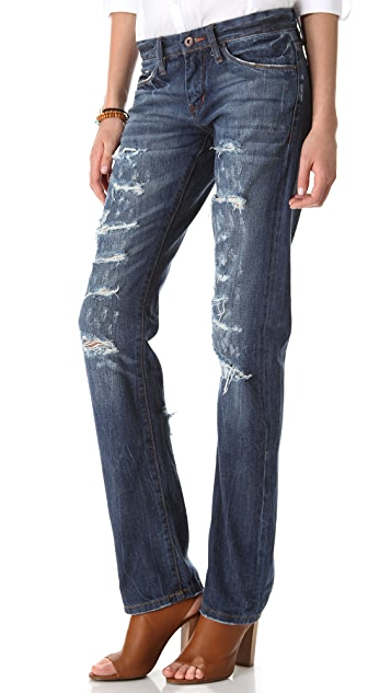 Blank Denim Distressed Straight Leg Jeans