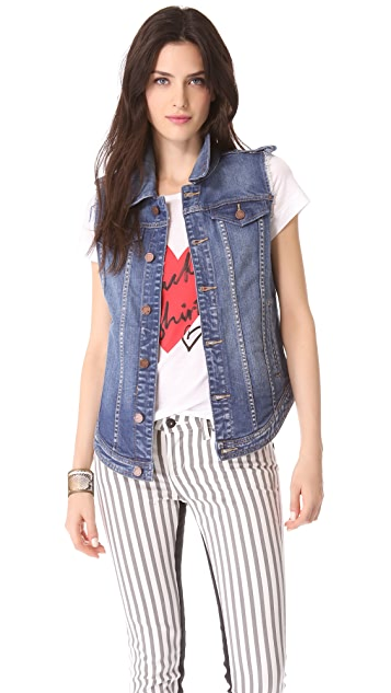 Blank Denim Cutoff Denim Vest