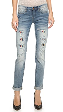 Blank Denim Relaxed Straight Leg Jeans with Lining