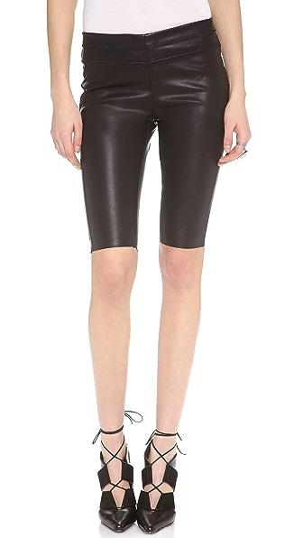Blank Denim Vegan Leather Biker Shorts