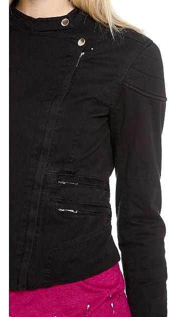Blank Denim Shrunken Moto Jacket