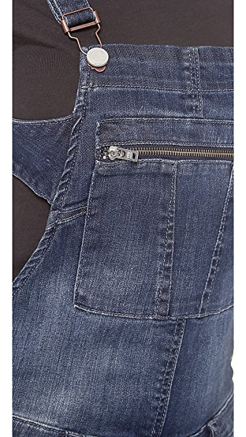 Blank Denim Overalls with Zipper Detail