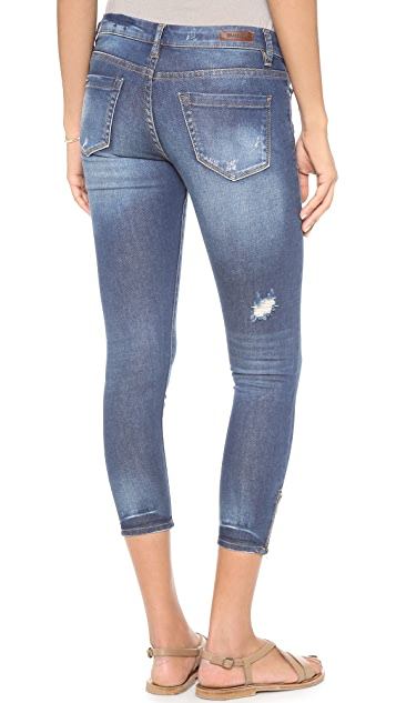 Blank Denim Straight Leg Jeans with Ankle Zips