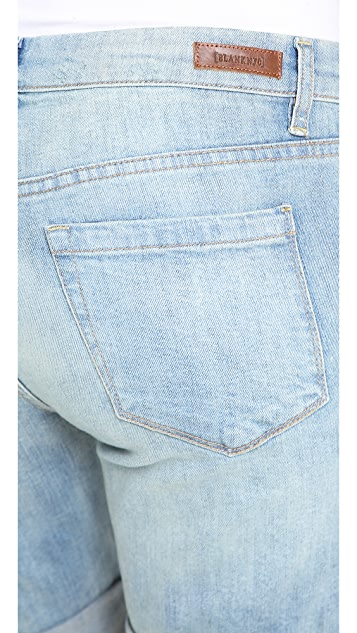 Blank Denim Roll Up Boyfriend Shorts