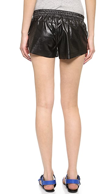 Blank Denim Perforated Faux Leather Shorts