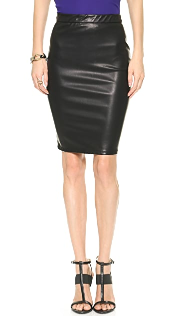 Blank Denim Vegan Leather Pencil Skirt