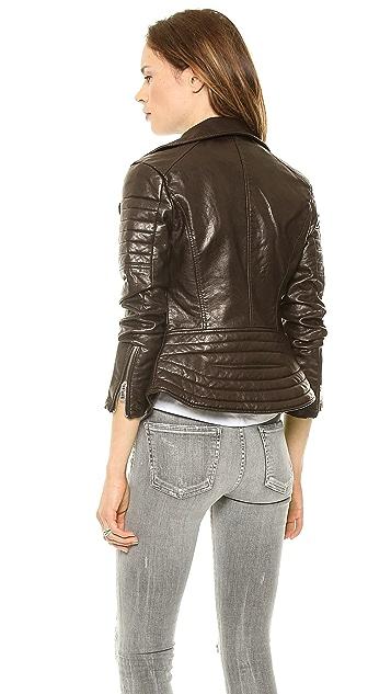 Blank Denim Imitation Leather Jacket
