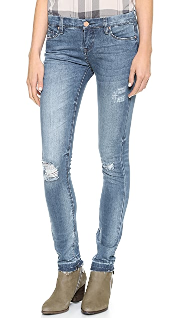 Blank Denim Skinny Jeans with Frayed Hem