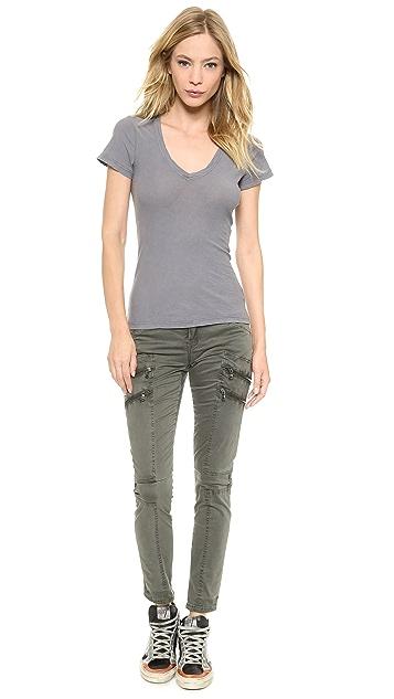 Blank Denim Skinny Cargo Pants with Zipper Detail