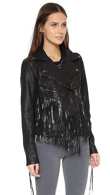 Blank Denim Vegan Leather Fringe Jacket