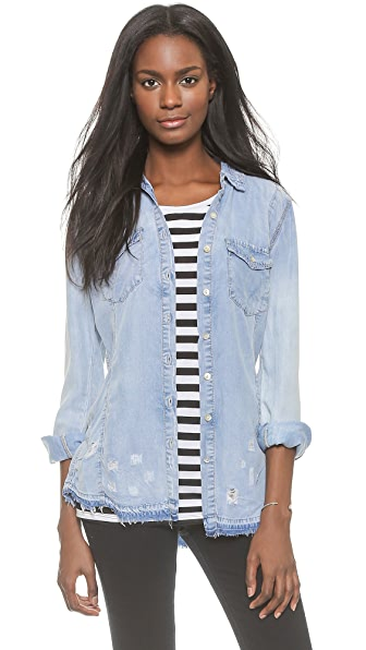 Blank Denim Frayed Chambray Button Down - Brain Bleach
