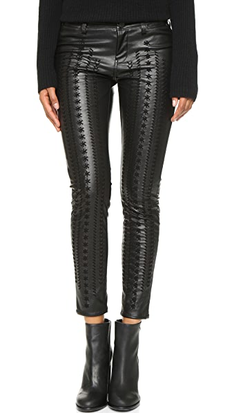 Blank Denim Vegan Leather Embroidered Skinny Pants In Wake Up Call